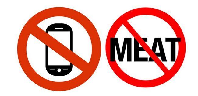Os telefones móveis e não-vegetarianos