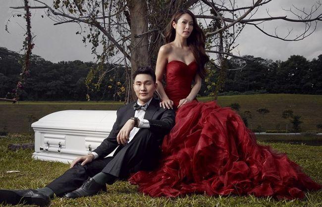 Coffin-photo shoot tema pré-casamento estimula a imaginação da Internet