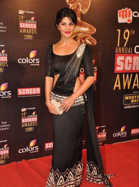 Jacqueline Fernandez no vestido sari preto