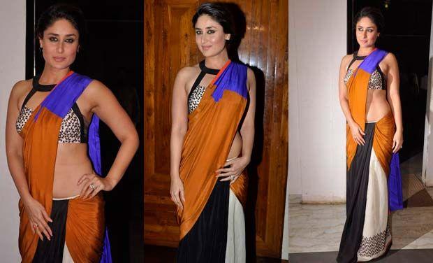 Kareena Kapoor em um sari multicolorida
