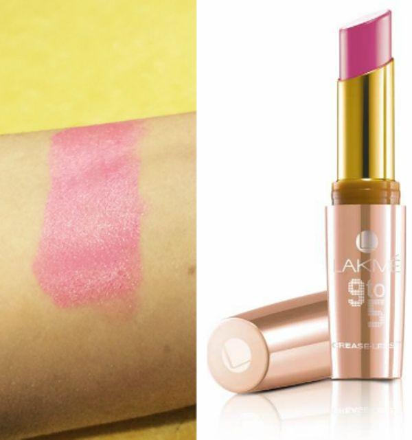 Lakmé 9-5 lábios creaseless 2 revisão PC e carregamento de amostras rosa