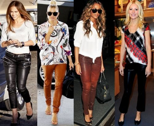 calças de couro para mulheres