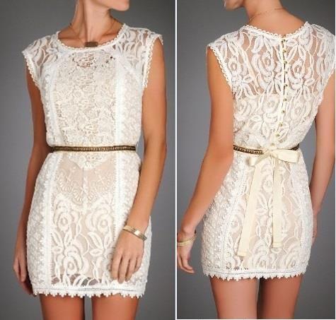 LWD (vestido branco pouco) no estilo de rendas