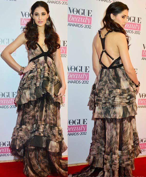Nargis Fakhri no designer vestido maxi