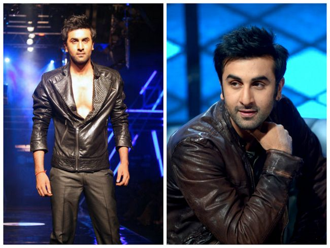 Embalar Ranbir Kapoor em uma jaqueta de couro