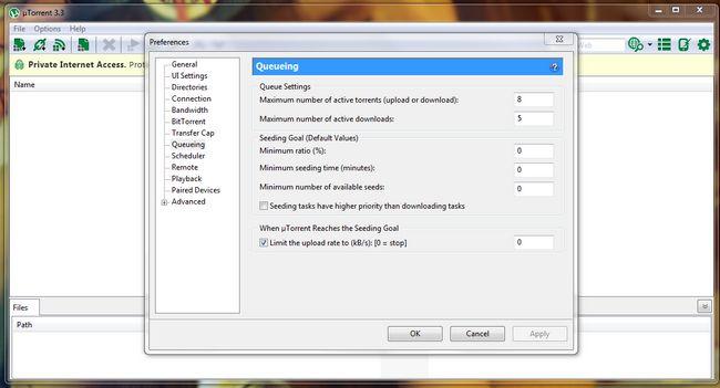 UTorrent parar semeadura após o download