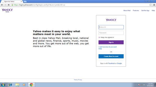Yahoo Mail conta aberta novamente